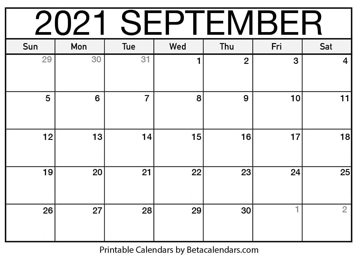 2021 September Calendar