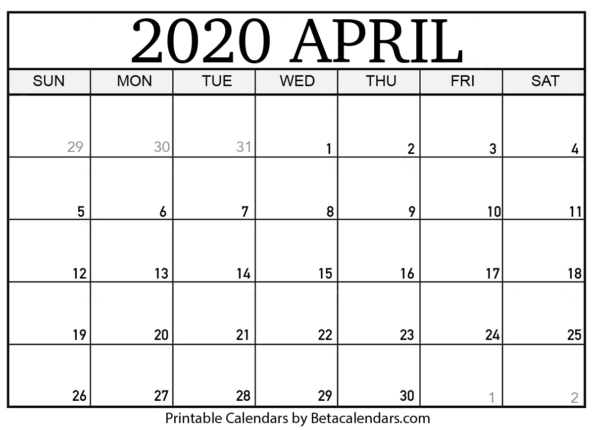 April Calendar 2020 Blank April 2020 Calendar Printable   Beta Calendars