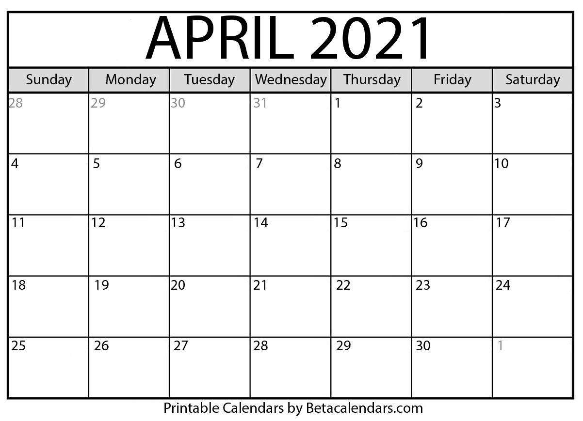 April 2021 Calendar Template April 2021 calendar | blank printable monthly calendars