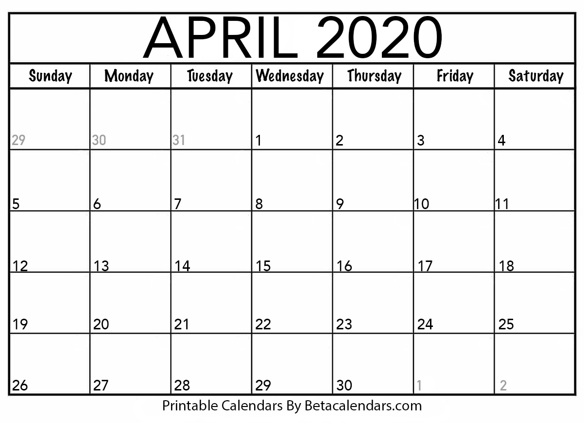 Blank April 2020 Calendar Blank April 2020 Calendar Printable   Beta Calendars