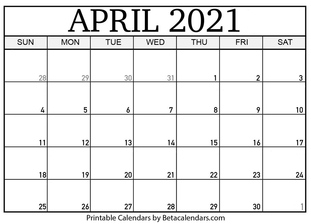 Blank April 2021 Calendar