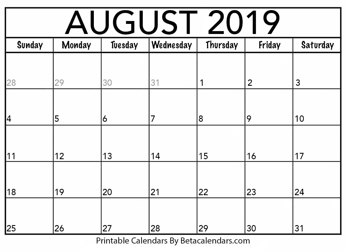 June July August 2019 Calendar Printable.Blank August 2019 Calendar Printable Beta Calendars