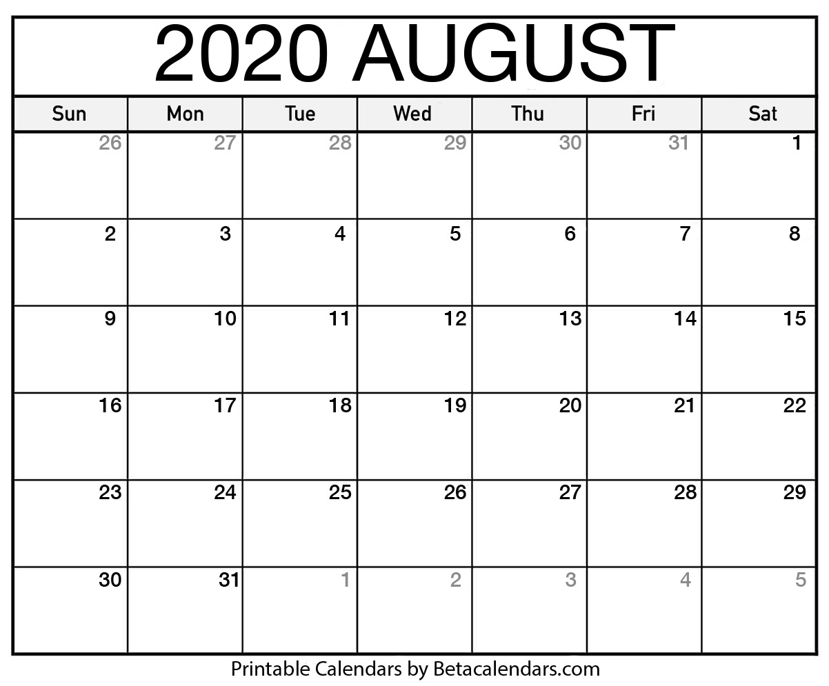 It is a graphic of Universal Printable August 2020