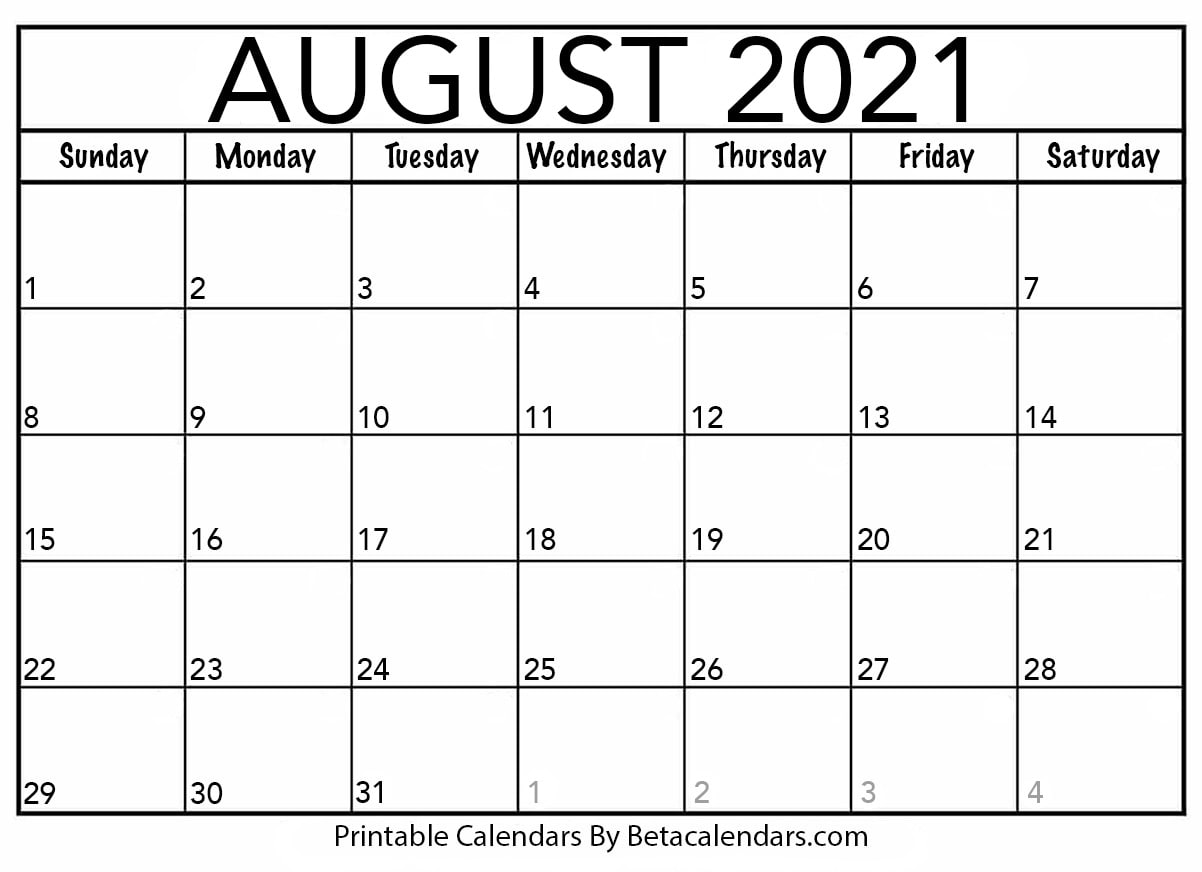 Blank August 2021 Calendar