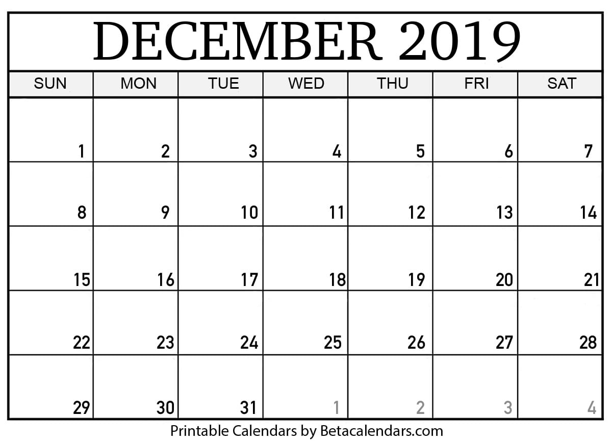photograph about Calendar December Printable named Blank December 2019 Calendar Printable - Beta Calendars