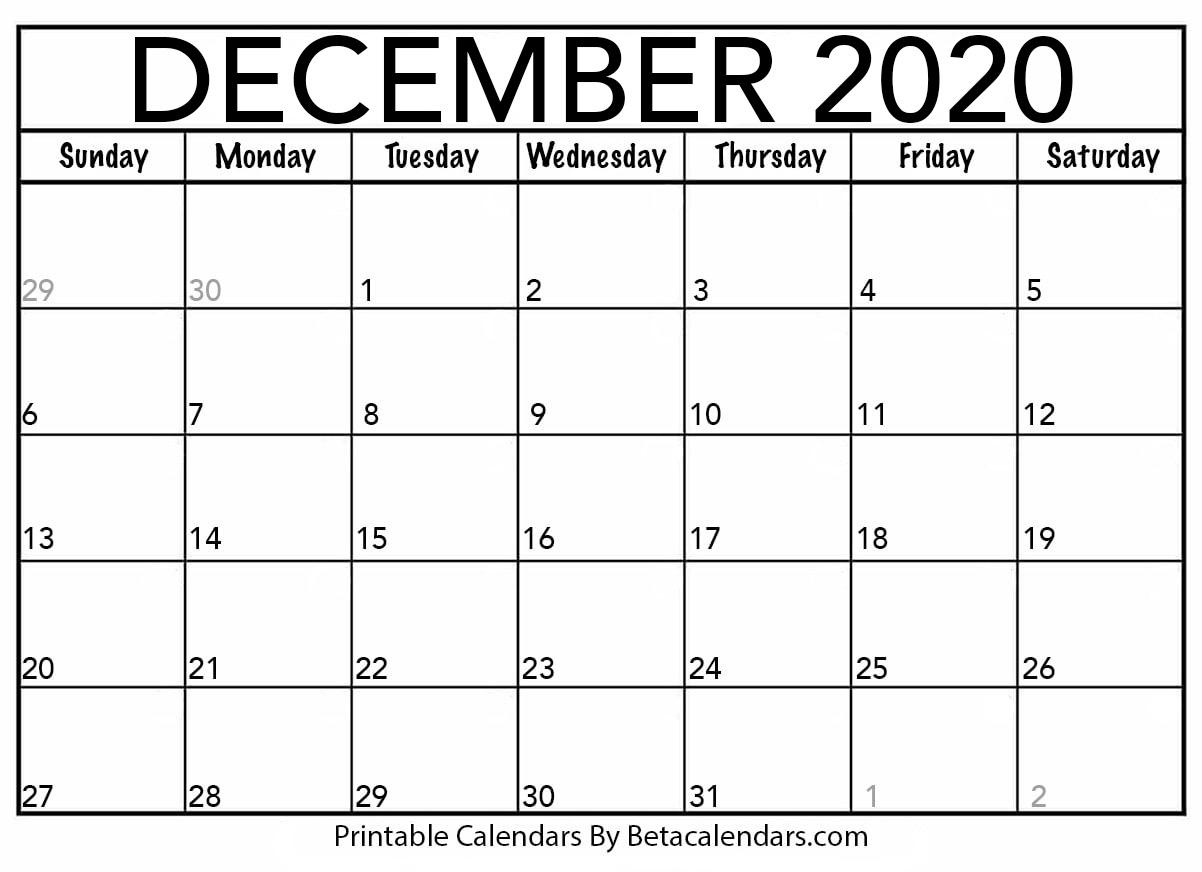 Blank December 2020 Calendar