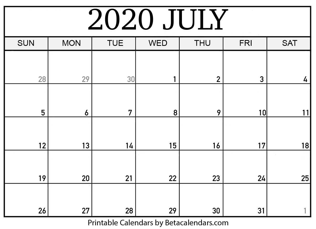 Printable Calendar July 2020.Blank July 2020 Calendar Printable Beta Calendars
