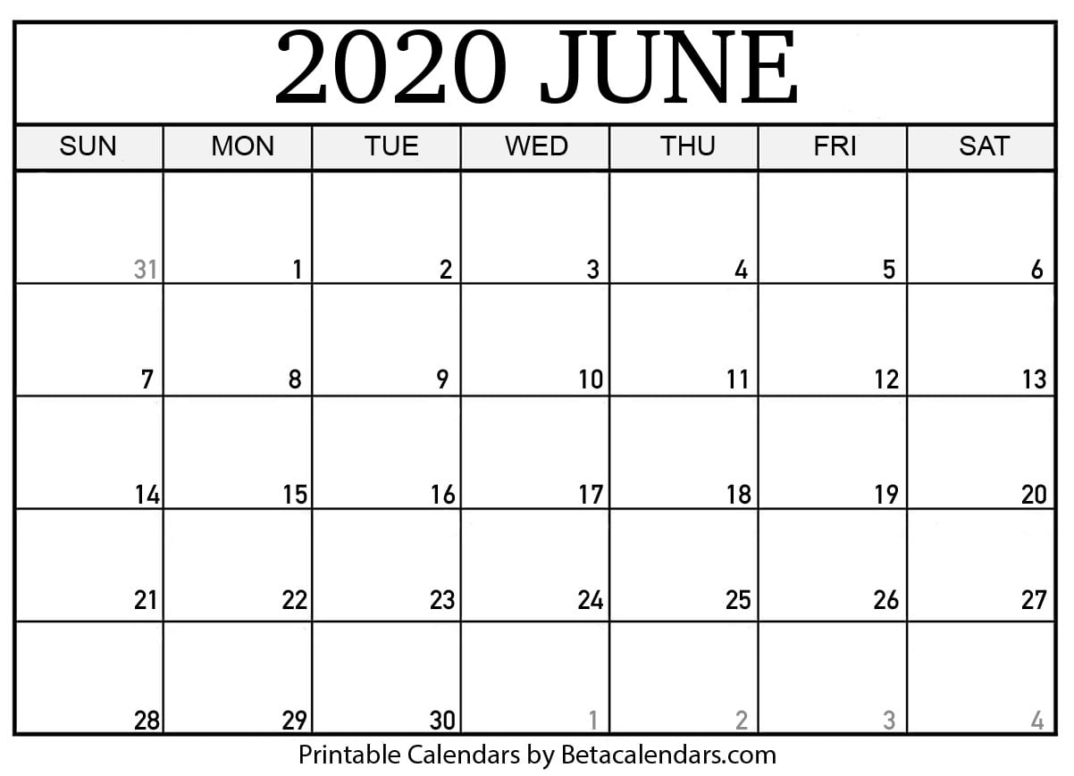 photo relating to June Printable Calendar identified as Blank June 2020 Calendar Printable - Beta Calendars