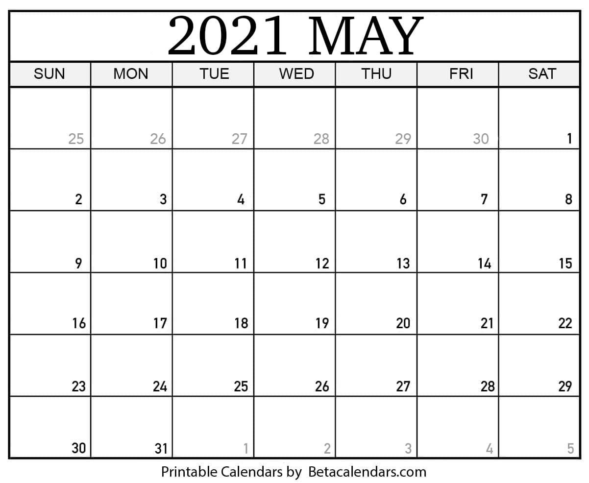 Blank May 2021 Calendar