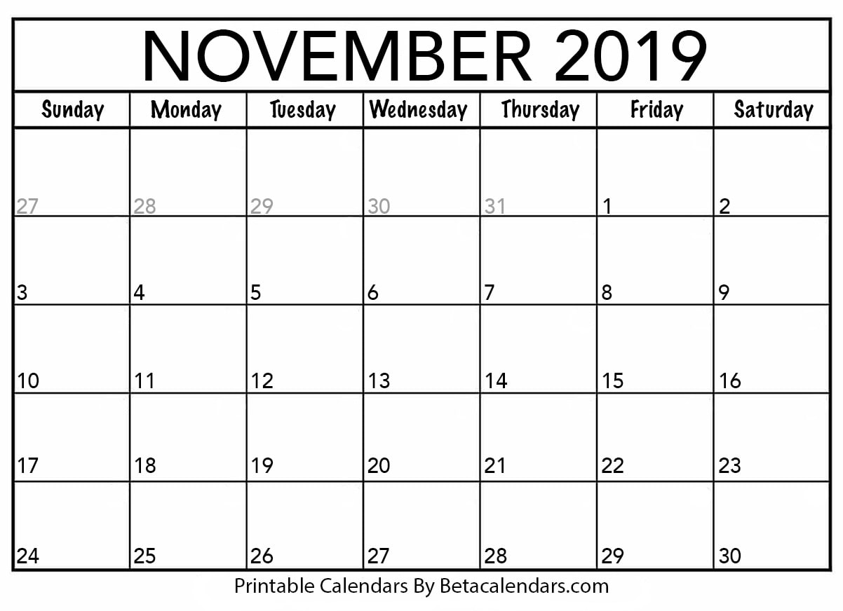 graphic about Free Printable Nov Calendar identified as Blank November 2019 Calendar Printable - Beta Calendars