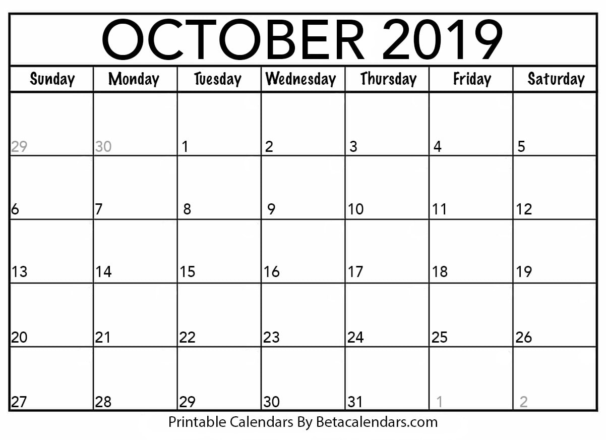 graphic regarding October Calendar Printable called Blank Oct 2019 Calendar Printable - Beta Calendars