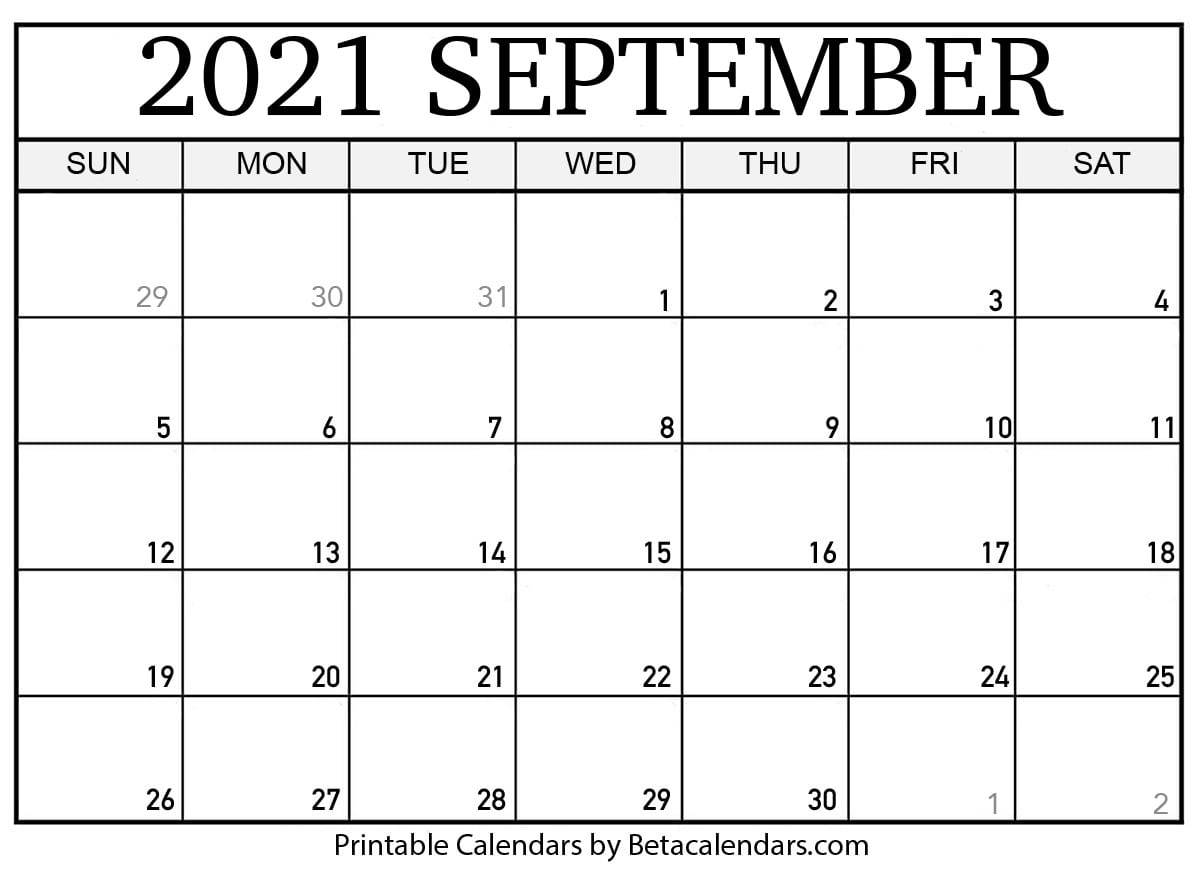 Blank September 2021 Calendar