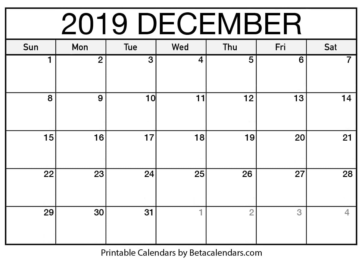 picture relating to Printable December Calendar titled Blank December 2019 Calendar Printable - Beta Calendars
