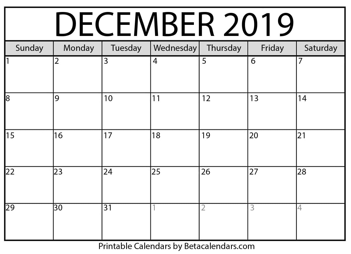 picture regarding Printable Calendar Nov named Blank December 2019 Calendar Printable - Beta Calendars