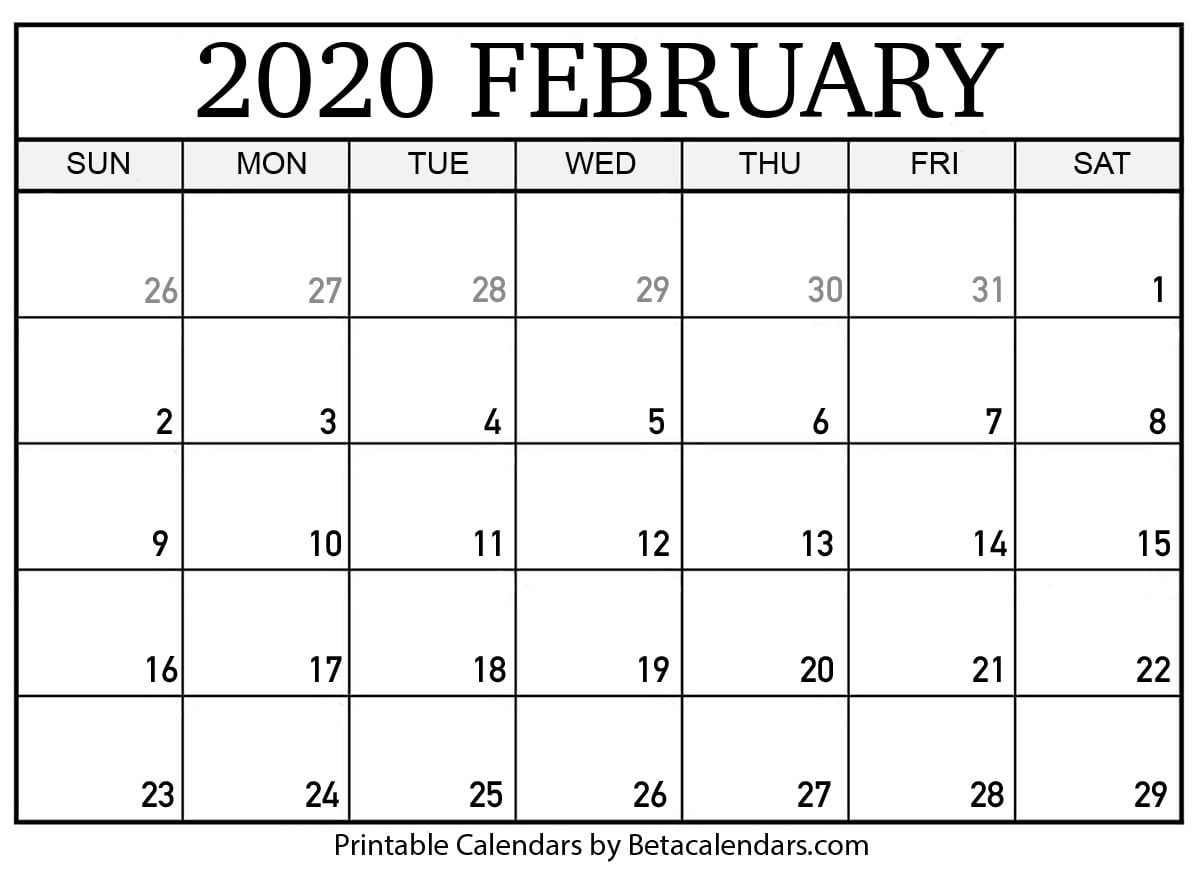 February 2020 Month Calendar Blank February 2020 Calendar Printable   Beta Calendars