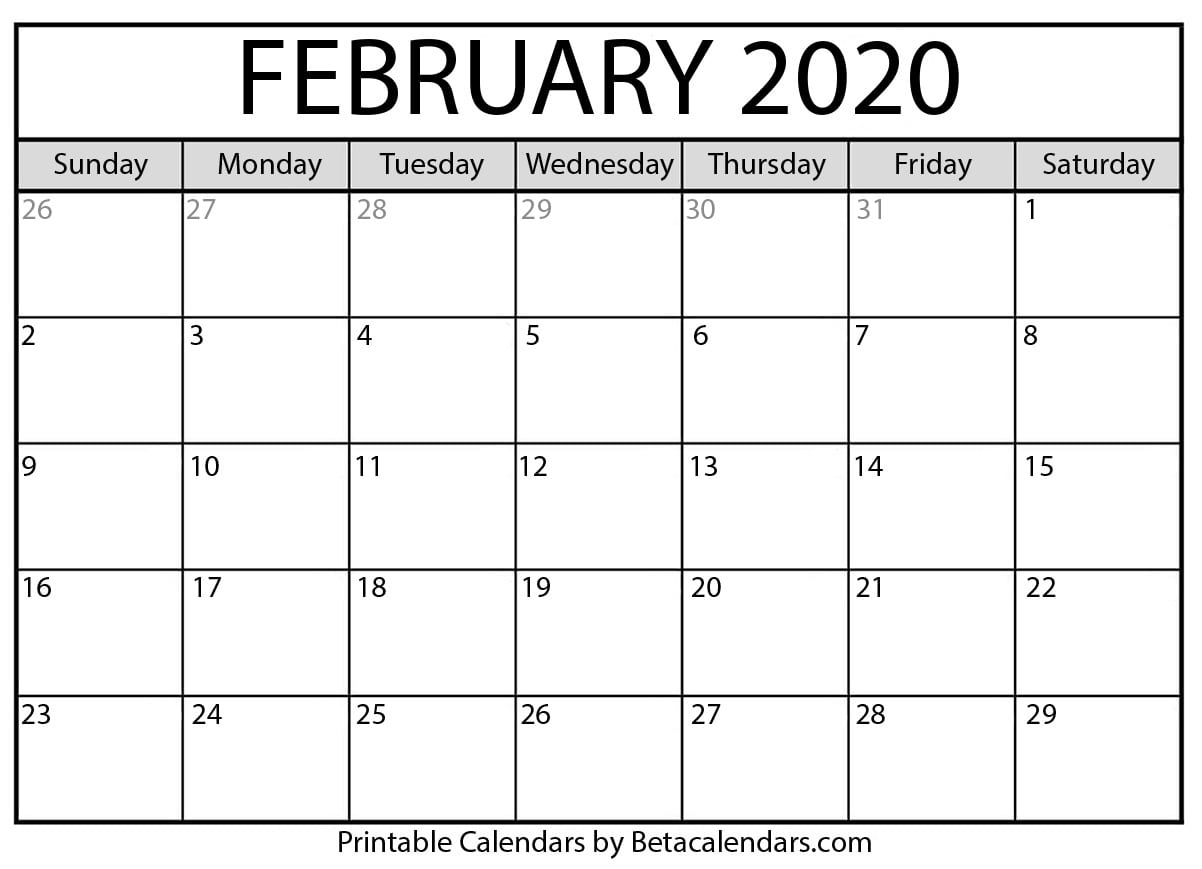 February Calendar For 2020 Blank February 2020 Calendar Printable   Beta Calendars