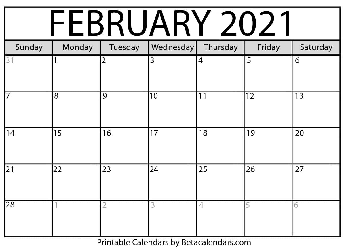 Feb Calendar 2021 February 2021 calendar | blank printable monthly calendars