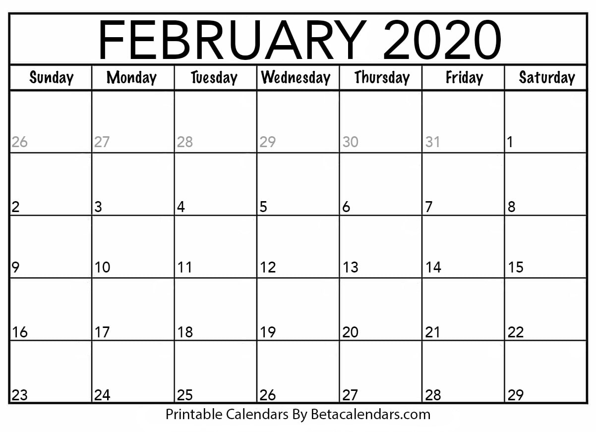 Month Of February Calendar 2020 Blank February 2020 Calendar Printable   Beta Calendars