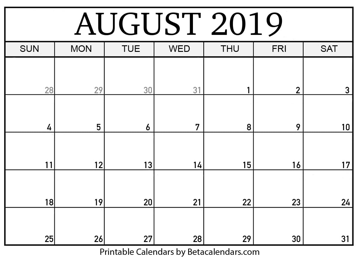 Free August 2019 Calendar