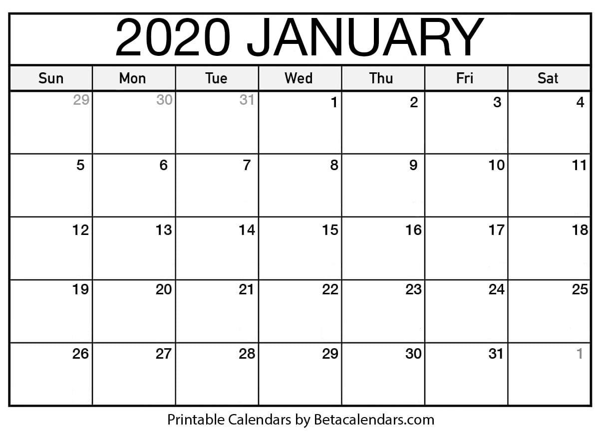 Calendar 2020 January Blank January 2020 Calendar Printable   Beta Calendars