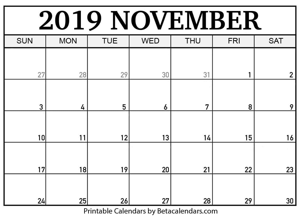photo relating to November Printable Calendar known as Blank November 2019 Calendar Printable - Beta Calendars