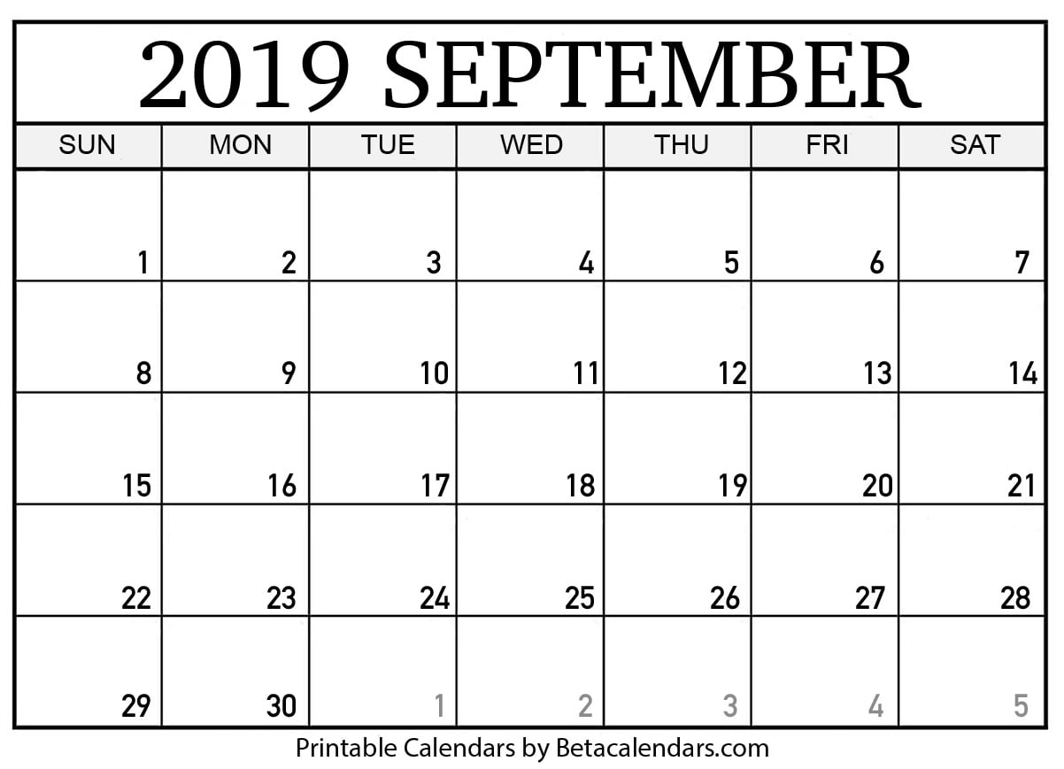 graphic regarding Printable September Calendar called Blank September 2019 Calendar Printable - Beta Calendars