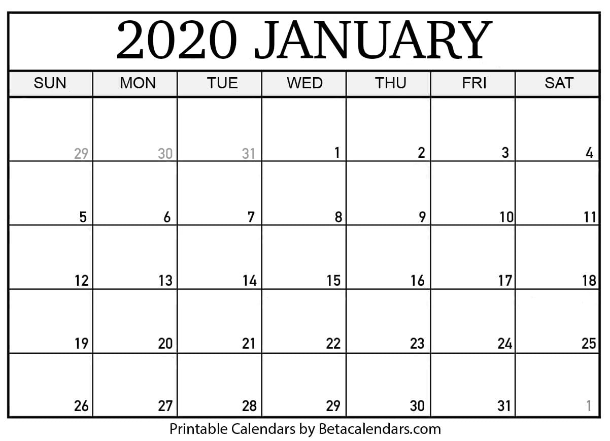 picture relating to January Printable Calender referred to as Blank January 2020 Calendar Printable - Beta Calendars