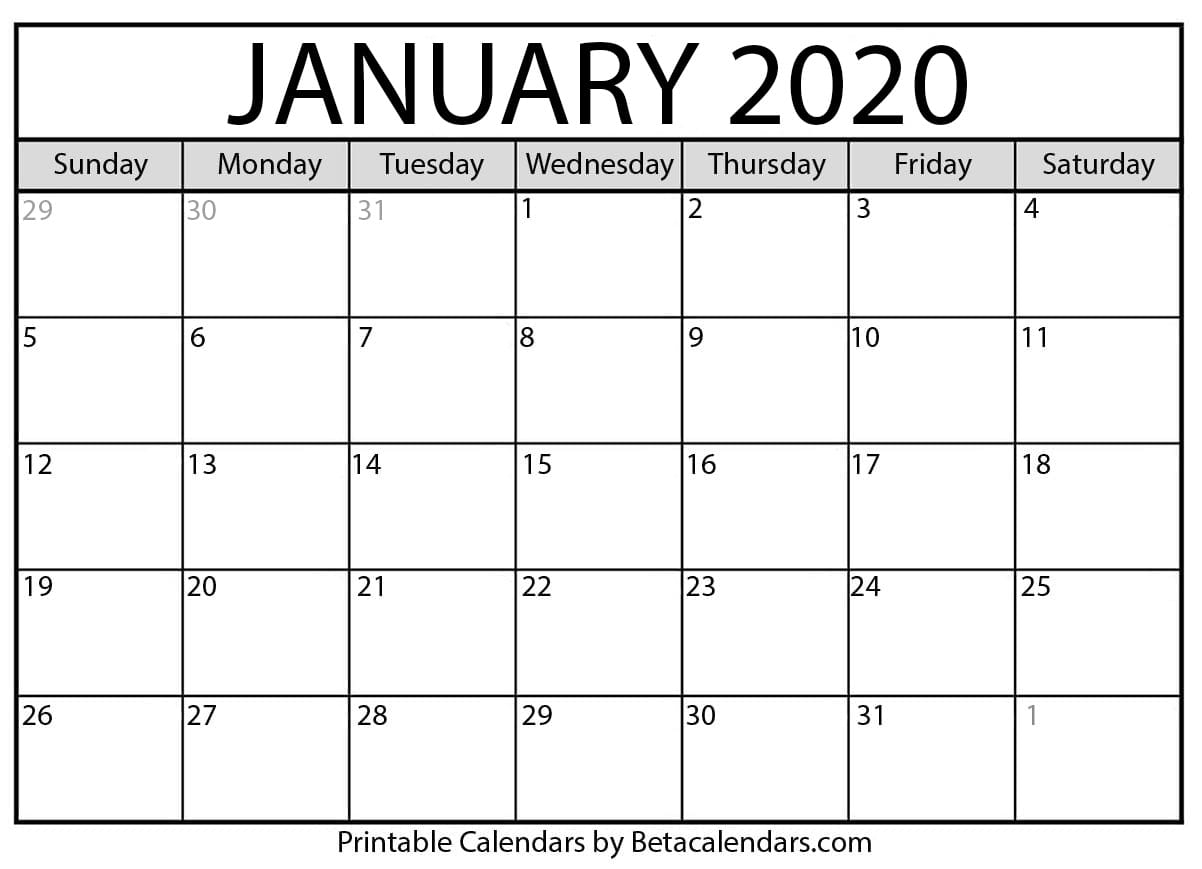 graphic regarding Calendar 2020 Printable named Blank January 2020 Calendar Printable - Beta Calendars