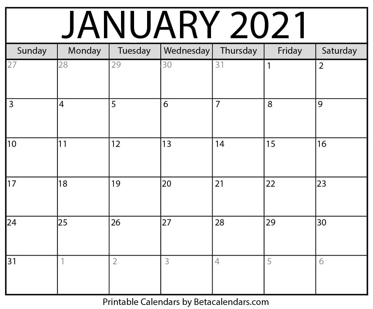 January Monthly Calendar 2021 January 2021 calendar | blank printable monthly calendars
