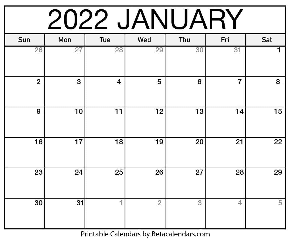 Roman Calendar 2022.Free Printable January 2022 Calendar
