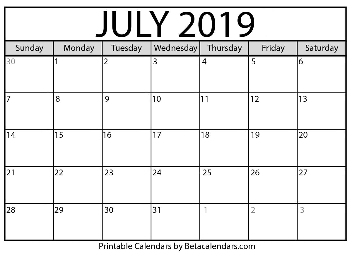 Blank July 2019 Calendar Printable Beta Calendars