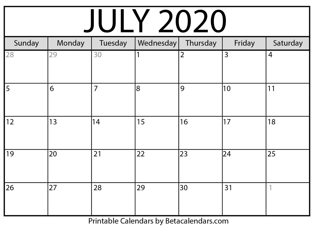 image regarding Calendar for July Printable titled Blank July 2020 Calendar Printable - Beta Calendars