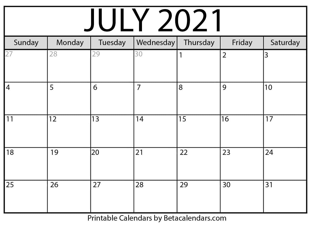 July 2021 calendar | blank printable monthly calendars