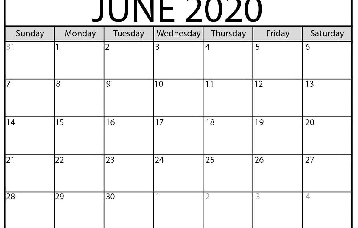 June 2020 Calendar