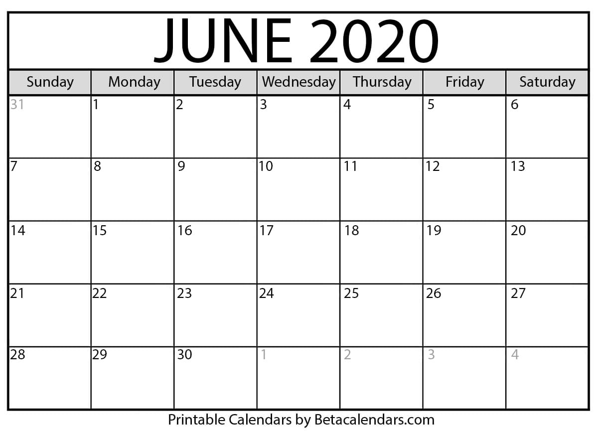 It's just a picture of Trust Printable June 2020 Calendars