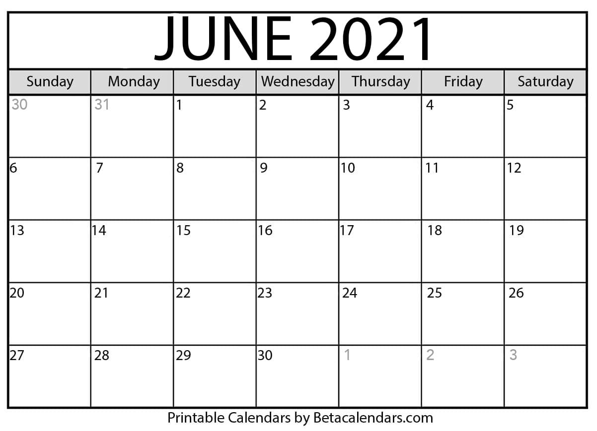 June Calendar Template 2021 Photos