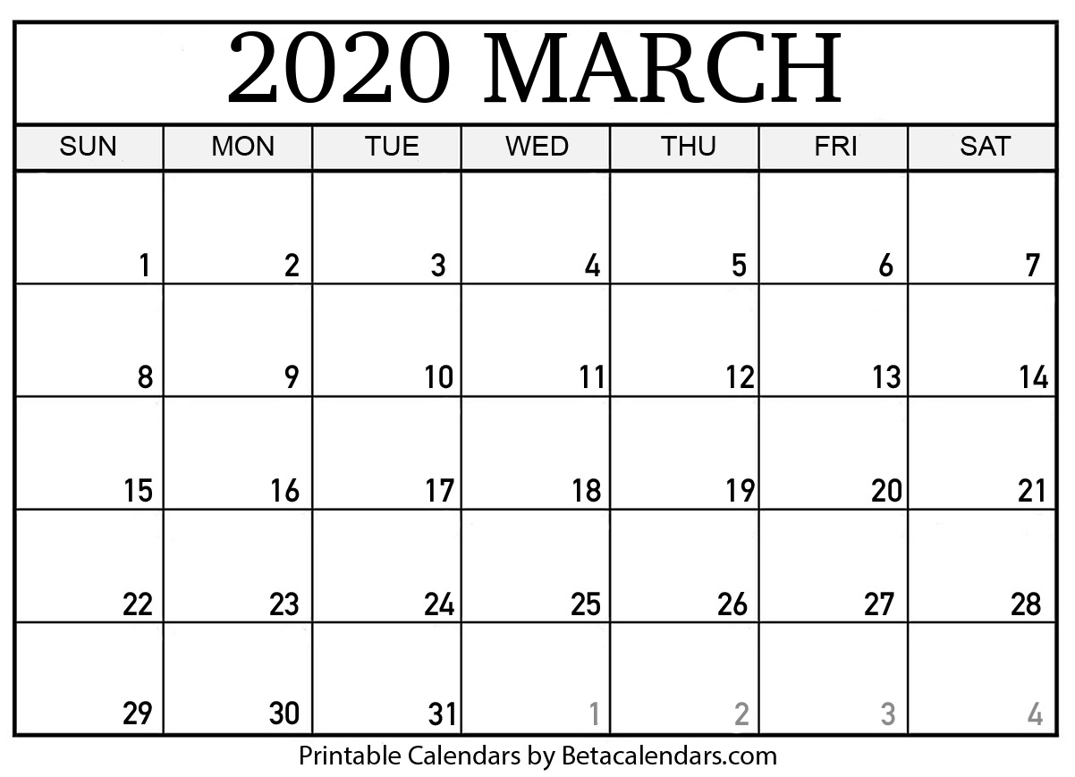 photograph relating to Printable 2020 Calendar called Blank March 2020 Calendar Printable - Beta Calendars