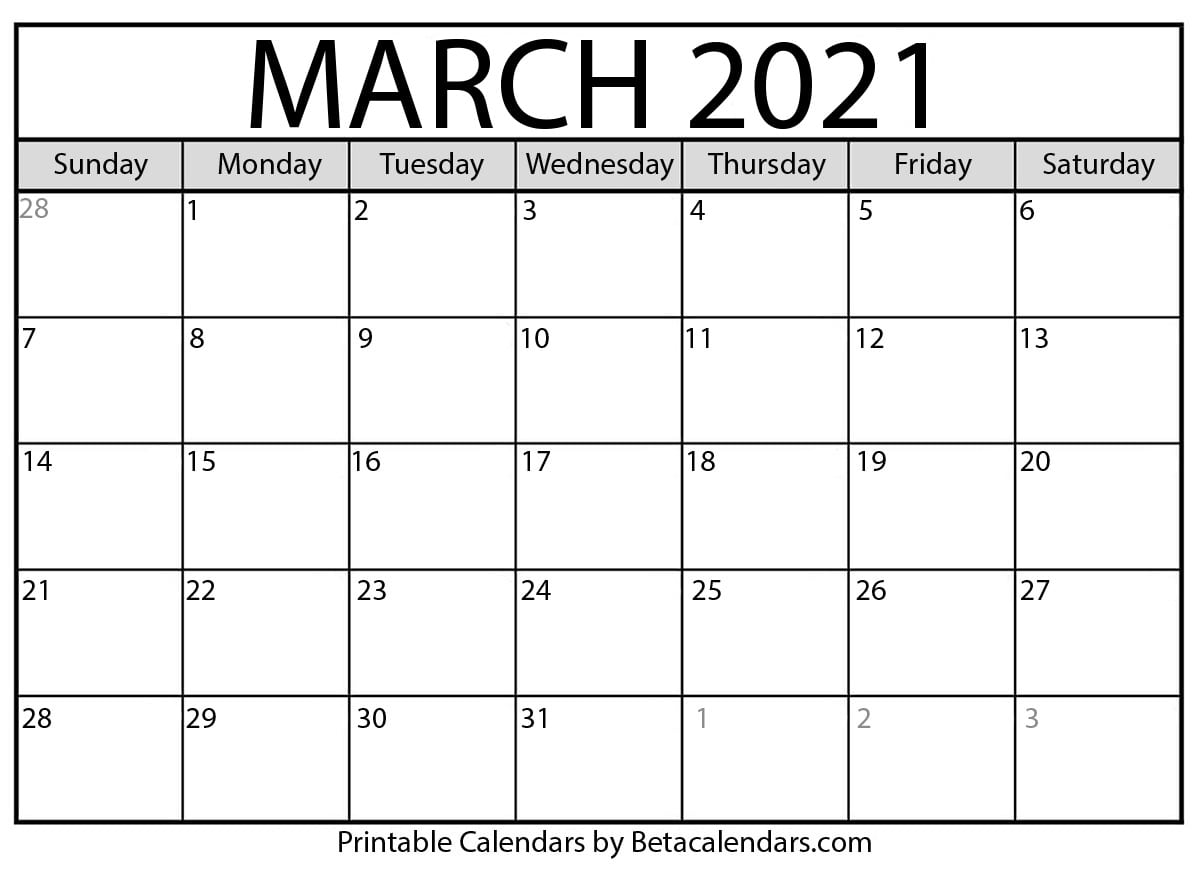 Calendar 2021 Printable March Photos