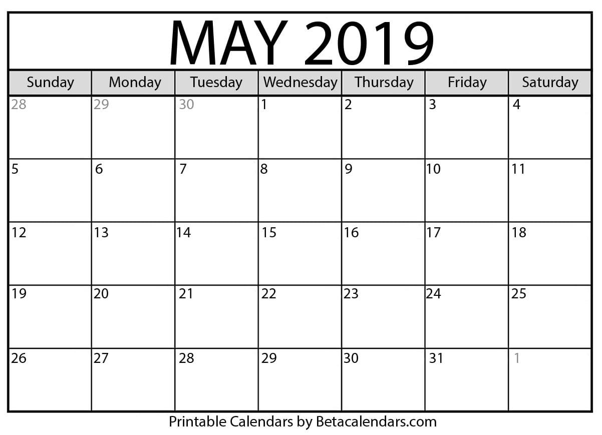 May 2019 Calendar - Beta Calendars
