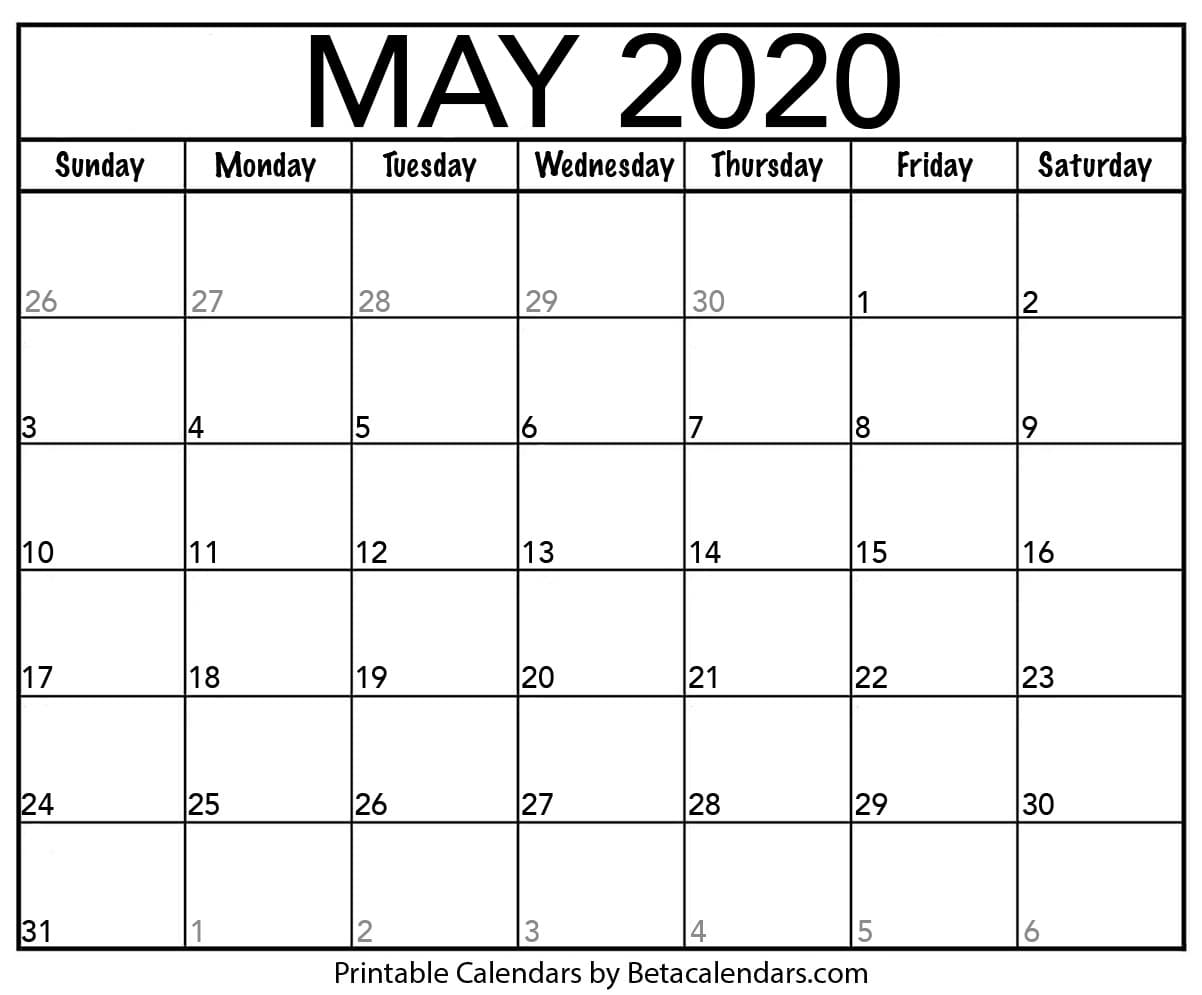 May Printable Calendar 2020.Blank May 2020 Calendar Printable Beta Calendars