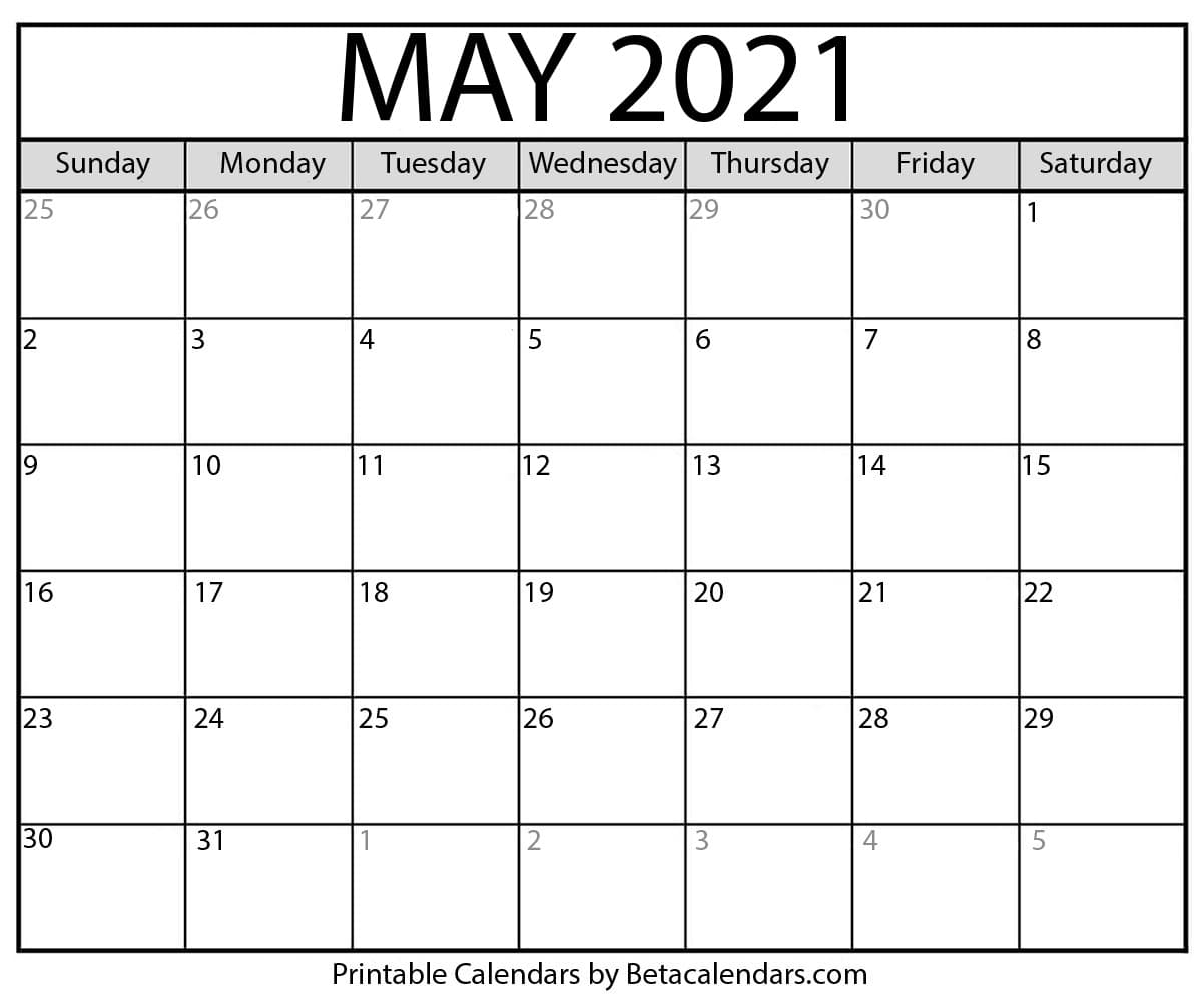 May 2021 Weekly Calendar Images