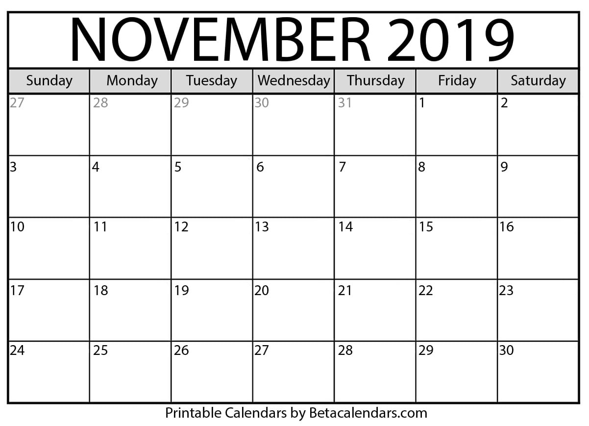 graphic relating to Printable November Calendar named Blank November 2019 Calendar Printable - Beta Calendars