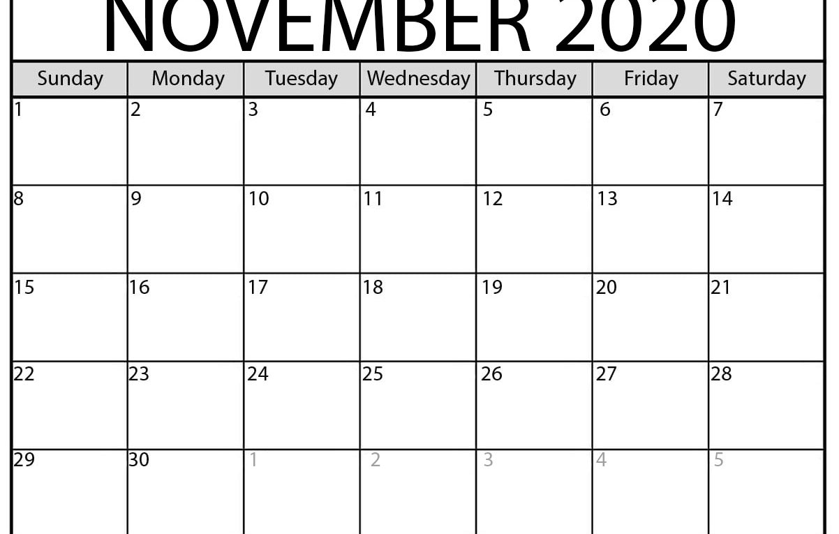 November 2020 calendar | blank printable monthly calendars