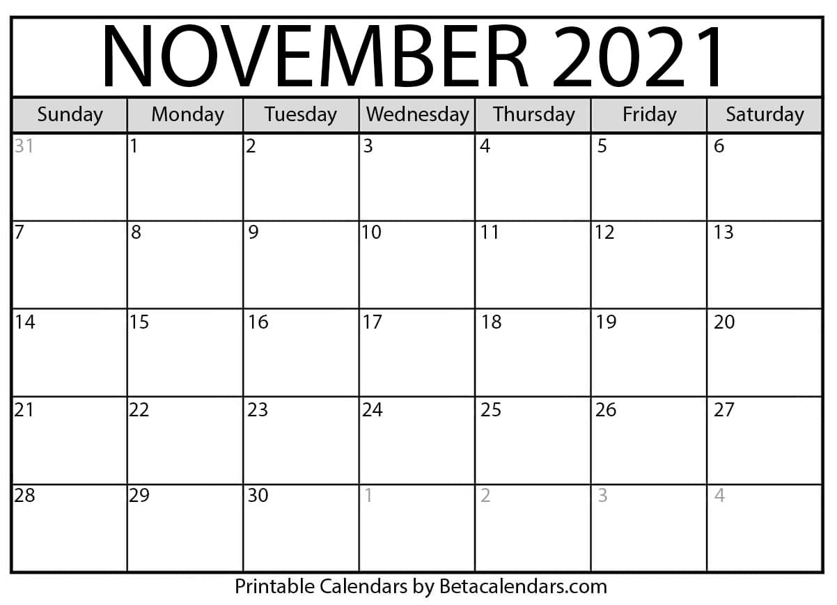 Calendar For Nov 2021 November 2021 calendar | blank printable monthly calendars