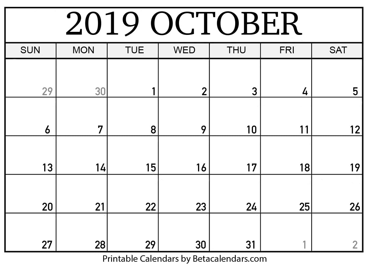 picture relating to Printable Oct Calendar identified as Blank Oct 2019 Calendar Printable - Beta Calendars