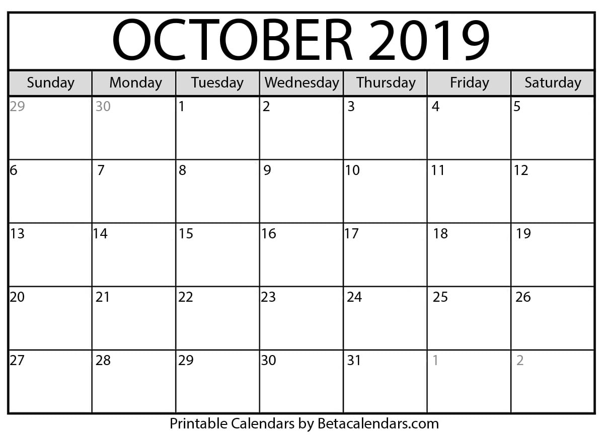 photograph about Printable Calendar for October titled Blank Oct 2019 Calendar Printable - Beta Calendars