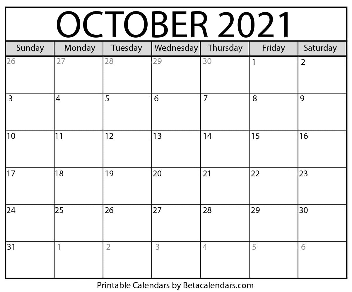 October, 2021 Calendar Images