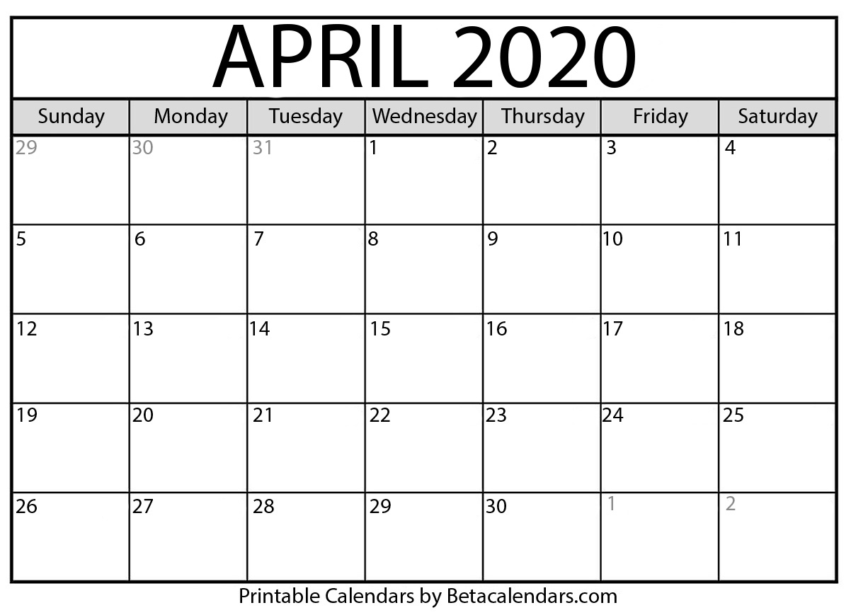 Calendar Template April 2020 Blank April 2020 Calendar Printable   Beta Calendars