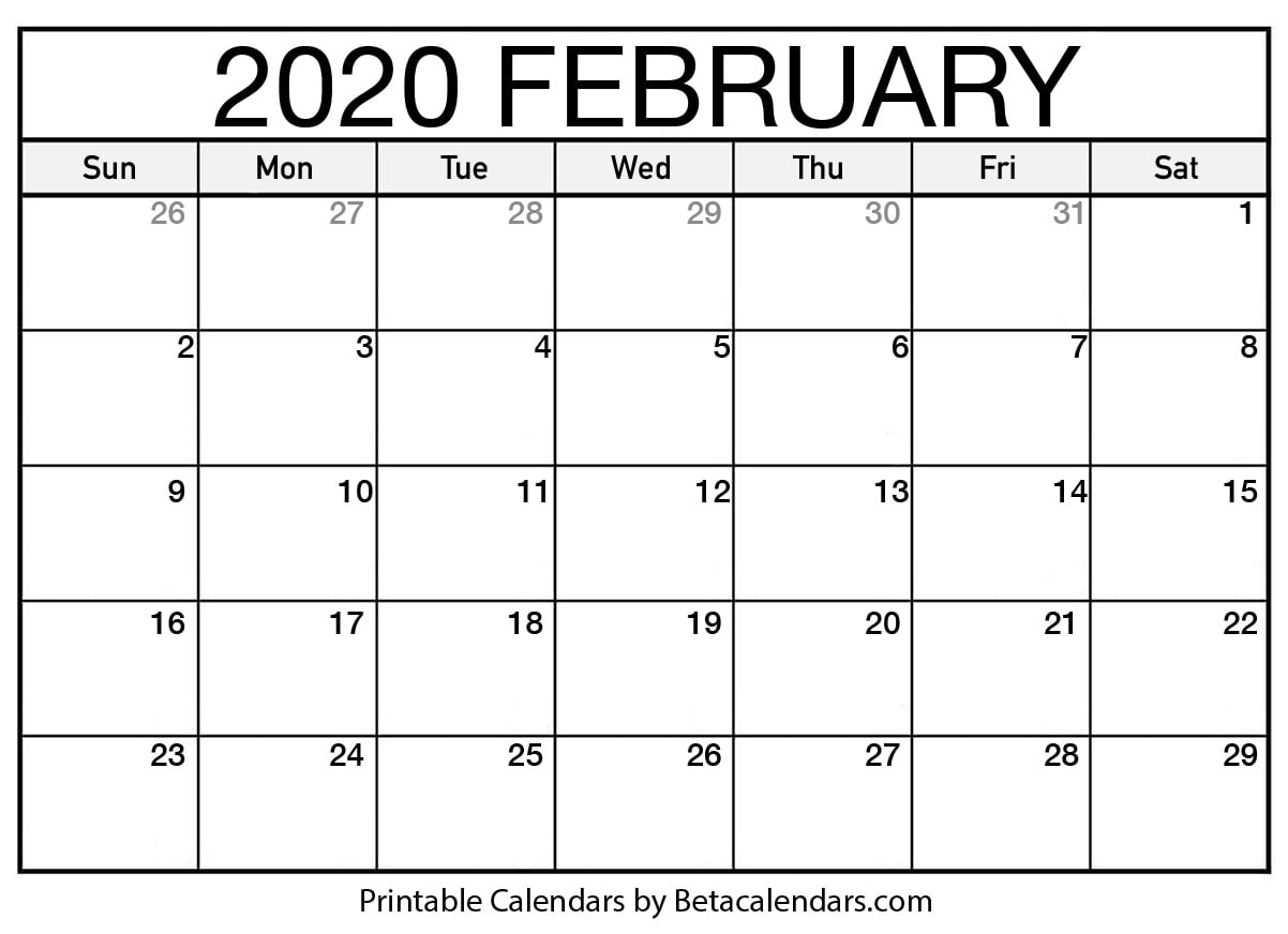 Feb Calendar 2020 Blank February 2020 Calendar Printable   Beta Calendars