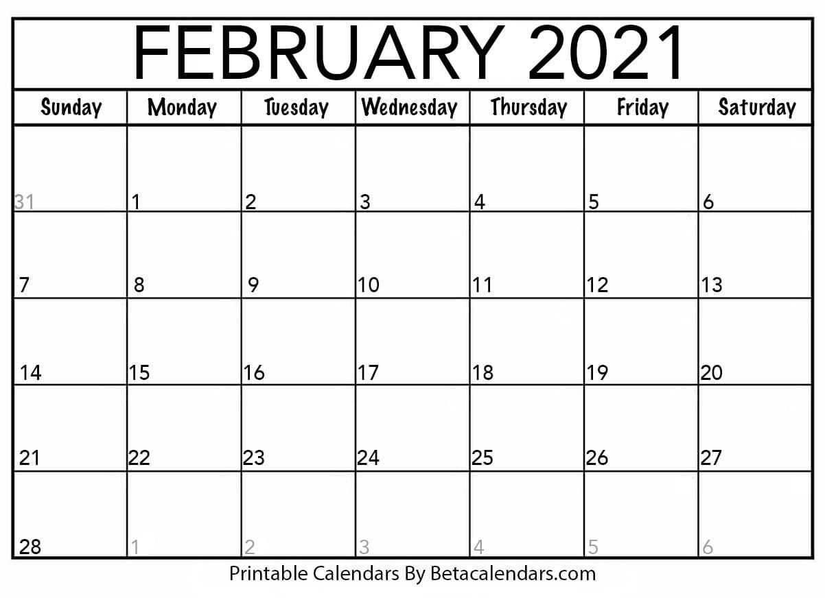 February 2021 Calendar   Beta Calendars